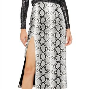Topshop Snakeskin Leather Midi Skirt w Slit